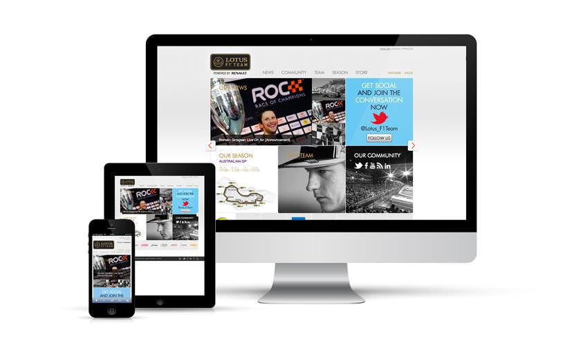 intégration, responsive, webdesign - Lotus F1 Team - 2012
