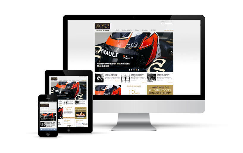 intégration, responsive, webdesign - Lotus F1 Team, v2 - 2013